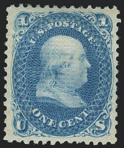 Sale Number 1120, Lot Number 1266, 1867-68 Grilled Issue (Scott 79-101)1c Blue, E. Grill (86), 1c Blue, E. Grill (86)