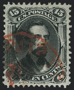 Sale Number 1120, Lot Number 1282, 1867-68 Grilled Issue (Scott 79-101)15c Black, F. Grill, Very Thin Paper (98 var), 15c Black, F. Grill, Very Thin Paper (98 var)