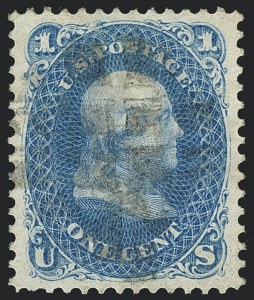 Sale Number 1120, Lot Number 1285, 1875 Re-Issue of 1861-66 Issue (Scott 102-111)1c Blue, Re-Issue (102), 1c Blue, Re-Issue (102)