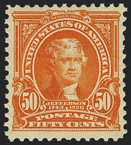 Sale Number 1120, Lot Number 1435, 1902-08 Issues (Scott 300-322)50c Orange (310), 50c Orange (310)