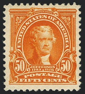 Sale Number 1120, Lot Number 1436, 1902-08 Issues (Scott 300-322)50c Orange (310), 50c Orange (310)