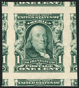 Sale Number 1120, Lot Number 1438, 1902-08 Issues (Scott 300-322)1c Blue Green, Imperforate (314), 1c Blue Green, Imperforate (314)
