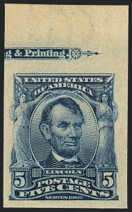 Sale Number 1120, Lot Number 1439, 1902-08 Issues (Scott 300-322)5c Blue, Imperforate (315), 5c Blue, Imperforate (315)