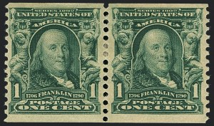 Sale Number 1120, Lot Number 1444, 1902-08 Issues (Scott 300-322)1c Blue Green, Coil (318), 1c Blue Green, Coil (318)