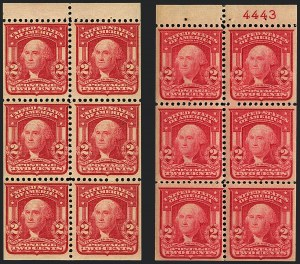 Sale Number 1120, Lot Number 1447, 1902-08 Issues (Scott 300-322)2c Carmine, Ty. I, Scarlet, Booklet Panes of Six (319g, 319p), 2c Carmine, Ty. I, Scarlet, Booklet Panes of Six (319g, 319p)