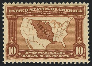 Sale Number 1120, Lot Number 1452, 1904-07 Louisiana Purchase, Jamestown Issues (Scott 323-330)10c Louisiana Purchase (327), 10c Louisiana Purchase (327)