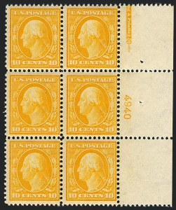 Sale Number 1120, Lot Number 1458, 1908-13 Washington-Franklin Issues (Scott 331-388)10c Yellow (338), 10c Yellow (338)