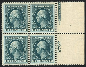 Sale Number 1120, Lot Number 1459, 1908-13 Washington-Franklin Issues (Scott 331-388)13c Blue Green (339), 13c Blue Green (339)