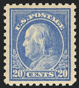 Sale Number 1120, Lot Number 1496, 1913-15 Washington-Franklin Issues (Scott 424-461)20c Ultramarine (438), 20c Ultramarine (438)