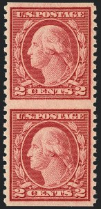Sale Number 1120, Lot Number 1536, 1919-20 Issues (Scott 537-550)2c Carmine Rose, Ty. III, Rotary Perf 11 x 10, Vertical Pair, Imperforate Horizontally (540a), 2c Carmine Rose, Ty. III, Rotary Perf 11 x 10, Vertical Pair, Imperforate Horizontally (540a)