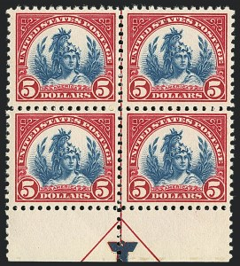 Sale Number 1120, Lot Number 1542, 1922-29 Issues (Scott 551-621)$5.00 Carmine & Blue (573), $5.00 Carmine & Blue (573)