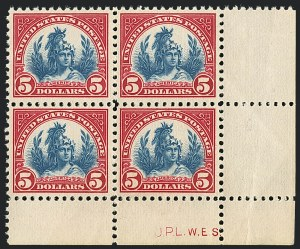 Sale Number 1120, Lot Number 1543, 1922-29 Issues (Scott 551-621)$5.00 Carmine & Blue (573), $5.00 Carmine & Blue (573)
