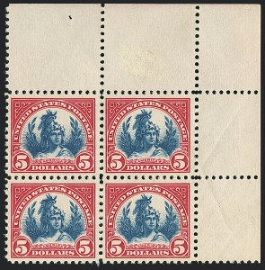 Sale Number 1120, Lot Number 1544, 1922-29 Issues (Scott 551-621)$5.00 Carmine & Blue (573), $5.00 Carmine & Blue (573)