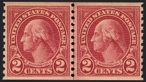 Sale Number 1120, Lot Number 1553, 1922-29 Issues (Scott 551-621)2c Carmine, Ty. II, Coil (599A), 2c Carmine, Ty. II, Coil (599A)