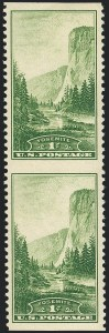 Sale Number 1120, Lot Number 1583, Modern Errors (National Parks Issue, Scott 740a-746a)1c Yosemite, Vertical Pair, Imperforate Horizontally (740a), 1c Yosemite, Vertical Pair, Imperforate Horizontally (740a)