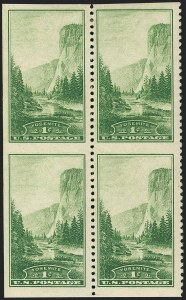 Sale Number 1120, Lot Number 1584, Modern Errors (National Parks Issue, Scott 740a-746a)1c Yosemite, Vertical Pair, Imperforate Horizontally (740a), 1c Yosemite, Vertical Pair, Imperforate Horizontally (740a)