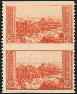 Sale Number 1120, Lot Number 1585, Modern Errors (National Parks Issue, Scott 740a-746a)2c Grand Canyon, Vertical Pair, Imperforate Horizontally (741a), 2c Grand Canyon, Vertical Pair, Imperforate Horizontally (741a)