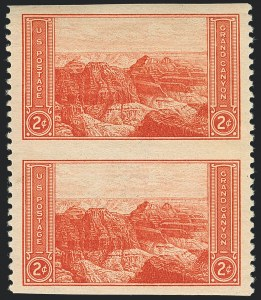 Sale Number 1120, Lot Number 1586, Modern Errors (National Parks Issue, Scott 740a-746a)2c Grand Canyon, Vertical Pair, Imperforate Horizontally (741a), 2c Grand Canyon, Vertical Pair, Imperforate Horizontally (741a)