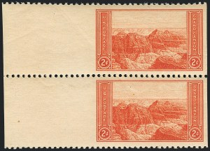 Sale Number 1120, Lot Number 1587, Modern Errors (National Parks Issue, Scott 740a-746a)2c Grand Canyon, Horizontal Pair, Imperforate Vertically (741b var), 2c Grand Canyon, Horizontal Pair, Imperforate Vertically (741b var)