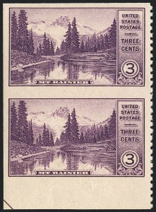 Sale Number 1120, Lot Number 1588, Modern Errors (National Parks Issue, Scott 740a-746a)3c Mt. Ranier, Vertical Pair, Imperforate Horizontally (742a), 3c Mt. Ranier, Vertical Pair, Imperforate Horizontally (742a)