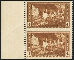 Sale Number 1120, Lot Number 1590, Modern Errors (National Parks Issue, Scott 740a-746a)4c Mesa Verde, Vertical Pair, Imperforate Horizontally (743a), 4c Mesa Verde, Vertical Pair, Imperforate Horizontally (743a)