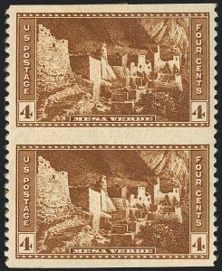 Sale Number 1120, Lot Number 1591, Modern Errors (National Parks Issue, Scott 740a-746a)4c Mesa Verde, Vertical Pair, Imperforate Horizontally (743a), 4c Mesa Verde, Vertical Pair, Imperforate Horizontally (743a)