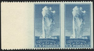 Sale Number 1120, Lot Number 1592, Modern Errors (National Parks Issue, Scott 740a-746a)5c Yellowstone, Horizontal Pair, Imperforate Vertically (744a), 5c Yellowstone, Horizontal Pair, Imperforate Vertically (744a)