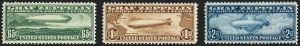 Sale Number 1120, Lot Number 1664, Air Post65c-$2.60 Graf Zeppelin (C13-C15), 65c-$2.60 Graf Zeppelin (C13-C15)