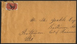 Sale Number 1120, Lot Number 1702, Carrier IssuesBaltimore Md., 1c Red on Bluish (1LB1), Baltimore Md., 1c Red on Bluish (1LB1)