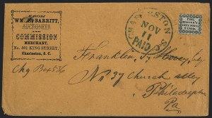 Sale Number 1120, Lot Number 1706, Carrier IssuesHonour's City Post, Charleston S.C., 2c Black on Bluish (4LB8), Honour's City Post, Charleston S.C., 2c Black on Bluish (4LB8)