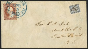 "Sale Number 1120, Lot Number 1709, Carrier IssuesHonour's City Post, Charleston S.C., 2c Black on Bluish, ""Cens"" (4LB8b), Honour's City Post, Charleston S.C., 2c Black on Bluish, ""Cens"" (4LB8b)"