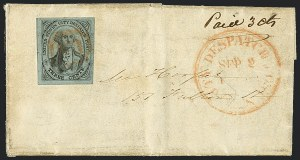 Sale Number 1120, Lot Number 1713, Carrier IssuesU.S. City Despatch Post, New York N.Y., 3c Black on Light Blue Unsurfaced (6LB3), U.S. City Despatch Post, New York N.Y., 3c Black on Light Blue Unsurfaced (6LB3)