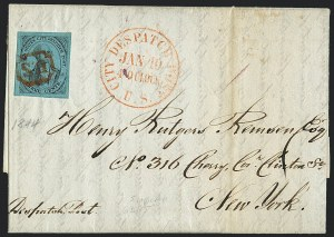Sale Number 1120, Lot Number 1714, Carrier IssuesU.S. City Despatch Post, New York N.Y., 3c Black on Blue Green Glazed (6LB5), U.S. City Despatch Post, New York N.Y., 3c Black on Blue Green Glazed (6LB5)