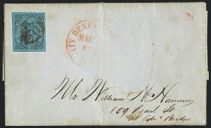 Sale Number 1120, Lot Number 1715, Carrier IssuesU.S. City Despatch Post, New York N.Y., 3c Black on Blue Glazed (6LB5b), U.S. City Despatch Post, New York N.Y., 3c Black on Blue Glazed (6LB5b)
