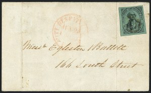 Sale Number 1120, Lot Number 1716, Carrier IssuesU.S. City Despatch Post, New York N.Y., 3c Black on Green Glazed (6LB5d), U.S. City Despatch Post, New York N.Y., 3c Black on Green Glazed (6LB5d)