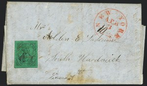 Sale Number 1120, Lot Number 1734, Local Posts(Mead's) Post Office City Despatch, New York N.Y., 2c Black on Green Glazed (40L2), (Mead's) Post Office City Despatch, New York N.Y., 2c Black on Green Glazed (40L2)