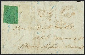 "Sale Number 1120, Lot Number 1736, Local Posts(Cole's) Post Office City Despatch, New York N.Y., 2c Black on Green Glazed, Hand-Etched Sideways ""C"" at Left (40L4b), (Cole's) Post Office City Despatch, New York N.Y., 2c Black on Green Glazed, Hand-Etched Sideways ""C"" at Left (40L4b)"