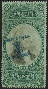 Sale Number 1121, Lot Number 2042, Proprietary Issues50c Green & Black on Violet Paper, Proprietary (RB8a), 50c Green & Black on Violet Paper, Proprietary (RB8a)