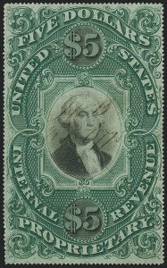 Sale Number 1121, Lot Number 2045, Proprietary Issues$5.00 Green & Black on Violet Paper, Proprietary (RB10a), $5.00 Green & Black on Violet Paper, Proprietary (RB10a)
