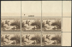 Sale Number 1121, Lot Number 2140, Hunting Permit Stamps (RW7-RW9)$1.00 1942 Hunting Permit (RW9), $1.00 1942 Hunting Permit (RW9)