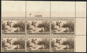 Sale Number 1121, Lot Number 2141, Hunting Permit Stamps (RW7-RW9)$1.00 1942 Hunting Permit (RW9), $1.00 1942 Hunting Permit (RW9)