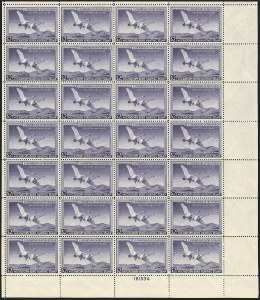 Sale Number 1121, Lot Number 2193, Hunting Permit Panes (RW15-RW23)$2.00 1950 Hunting Permit (RW17), $2.00 1950 Hunting Permit (RW17)