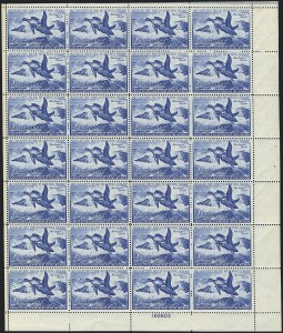 Sale Number 1121, Lot Number 2195, Hunting Permit Panes (RW15-RW23)$2.00 1952 Hunting Permit (RW19), $2.00 1952 Hunting Permit (RW19)