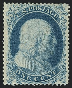 Sale Number 1122, Lot Number 12, 1857-60 Issue (Scott 18-39)1c Blue, Ty. I (18), 1c Blue, Ty. I (18)