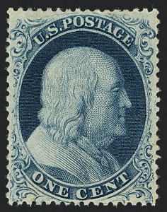 Sale Number 1122, Lot Number 13, 1857-60 Issue (Scott 18-39)1c Blue, Ty. Ic (19b), 1c Blue, Ty. Ic (19b)