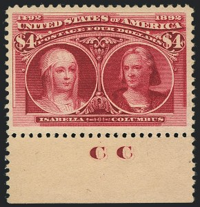 Sale Number 1122, Lot Number 135, 1893 Columbian Issue (Scott 230-245)$4.00 Columbian (244), $4.00 Columbian (244)