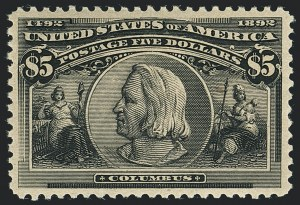Sale Number 1122, Lot Number 136, 1893 Columbian Issue (Scott 230-245)$5.00 Columbian (245), $5.00 Columbian (245)