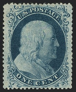 Sale Number 1122, Lot Number 14, 1857-60 Issue (Scott 18-39)1c Blue, Ty. II (20), 1c Blue, Ty. II (20)