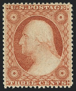 Sale Number 1122, Lot Number 17, 1857-60 Issue (Scott 18-39)3c Dull Red, Ty. III (26). Mint N.H, 3c Dull Red, Ty. III (26). Mint N.H