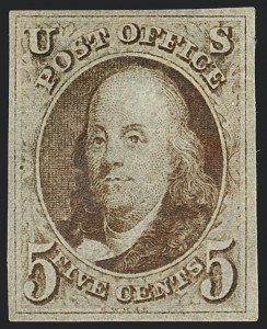 Sale Number 1122, Lot Number 2, Postmasters Provisionals thru 1847 Issue (Scott 10X1, 1-4)5c Red Brown (1), 5c Red Brown (1)